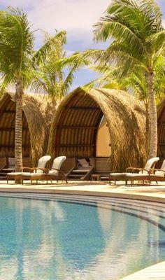 5 poolside cabanas & a swim-up bar in #BoraBora.