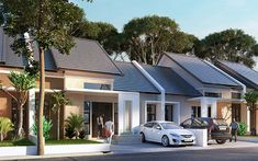 Project Name Green Hill Residence Bungalow House Design, Small House Design, Studios Architecture, Architecture Design, Duplex House Plans, Town House, Facade House, Little Houses, Minimalist Home