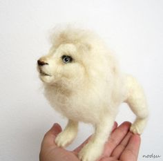 White lion needle felted sculpture rare animal albino by nodsu