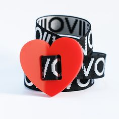 LOVE FAKTOR: Desire Edition Belts 2021, 100% upcycled glossy acrylic plastic Buckle combined with DYVÓ design recycled Nylon Strap. #upcycle #design #recycle #nature #handmade #handstitched #heart #belt © DYVÓ Acrylic Plastic, Hand Stitching, Belts, Upcycle, Recycling, Cufflinks, Love, Heart, Nature