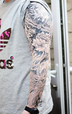 Flowers, waves, and a dragon sleeve