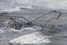 A roller coaster in the Atlantic Ocean after Superstorm Sandy hits Seaside Heights, NJ