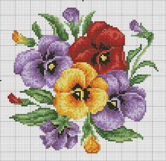 Cross Stitch Pansies
