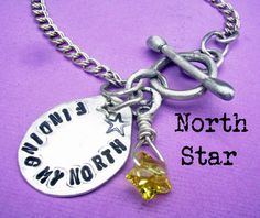 North Star metalsmithed bracelet with modern rustic style, Handstamped Forged Sterling Silver pairs with a sweet, wire-wrapped swarovski crystal star and inspirational quote, or personalize with your own words, by deborahmcgovern, $62.00