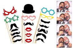 Photobooth props - moustaches, glasses and hats galore!