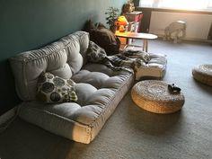 Floor Cushion Couch, Floor Couch, Cushion Fabric, Floor Pillows, Large Floor Cushions, Meditation Corner, Meditation Cushion, Meditation Space, Home Decor Ideas