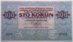 Státovky I. emise (1919) - Papírová platidla, bankovky Banknote, European Countries, Czech Republic, Periodic Table, Coins, Money, Retro, Nostalgia, Periotic Table