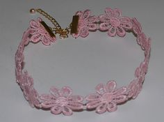 Lace Pink Flower Choker Necklace Handmade by musicissanity on Etsy