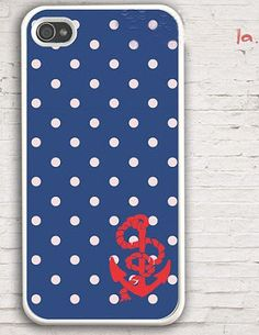 Anchor iphone 4 Case , phone 4s case, Nautical Navy dot With Anchor, Hard Case for iPhone 4 Case, iPhone 4s Case-graphic Iphone case. $8.99, via Etsy.
