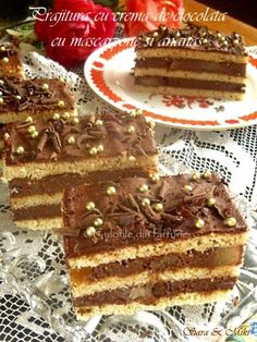 » Prajitura cu ciocolata, frisca si piersiciCulorile din Farfurie Sweets Recipes, No Bake Desserts, Delicious Desserts, Cake Recipes, Food Cakes, Yummy Cakes, Nutella, Cheesecake, Deserts