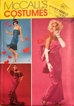 MARILYN MONROE Costume Sewing Pattern ~ Misses Flapper & Flamenco Dancer Halloween Costumes in 4 Sizes #patterns4you