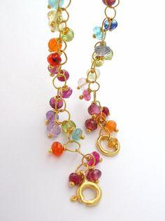 Gemstone Bracelet wire wrapped jewelry delicate gold por bluebirdss