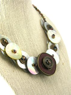 Jewel Tone Button Necklace Mother Of Pearl by TrinketsNWhatnots, $45.00