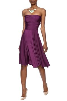 Gorgeous amethyst colored stretch jersey dress that can be worn a variety of ways. Wrap it up as a strapless piece, or wear it as a halter dress.   Multi Way Dress by Elan. Clothing - Dresses Dallas, Texas Texas