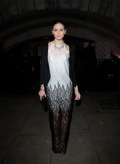 Olivia Palermo in a lace Alessandra Rich dress. Loved the jacket overlay.