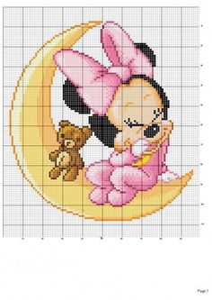 Point de croix -cross stitch ❤️✼❤️✼baby minni e mickey mouse a punto croce Disney Cross Stitch Patterns, Cross Stitch For Kids, Cross Stitch Baby, Cross Stitch Charts, Cross Stitch Designs, Cross Stitching, Cross Stitch Embroidery, Embroidery Patterns, Disney Stitch