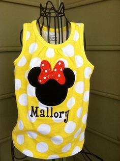 Yellow Polka Dotted Minnie Mouse Sleeveless by ModernMonograms, $25.00 Tiff we need these for the girls!