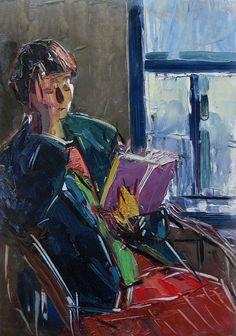 At the reading - Semionov Arseny Nikiforovich . 1962. Russian, 1911-1992 Oil on board, 50,2 x 35 cm