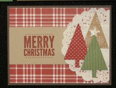 Joyce's card: Merry Everything, Trim the Tree dsp stack, Under the Tree dsp, Tea Lace Doily, Tree Punch, & more. All supplies from Stampin' Up!