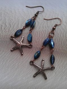Starfish and blue freshwater pearl earrings by ABBG by ABBGDesigns, $16.00