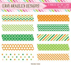St. Patricks Day Tape Clipart Commercial Use Graphics Instant Download