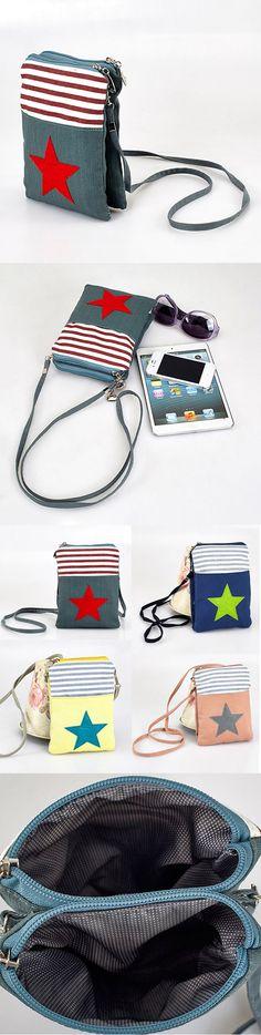 6b39726a0e Canvas Star Pattern Phone Bag Shoulder Bag Coins Bag Crossbody Bag