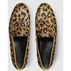 Gucci Jordaan Leopard Jacquard Loafer ($695) ❤ liked on Polyvore featuring shoes, loafers, floral shoes, horsebit loafers, loafers moccasins, gucci loafers and horse bit loafers