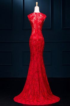 Long Sexy Red Lace See Through Split Prom Dresses – Okdresses