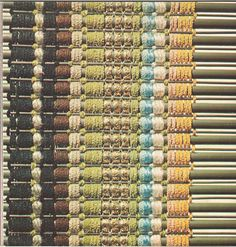 Handwoven Blinds Using Wood Dowels and Oriental Reeds (1952) by American textile designer and weaver Dorothy Liebes (1897-1972). via DC Cooper weaving