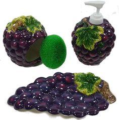 GRAPES 3D Resin & Ceramic theme Kitchen 4 pcs Set NEW