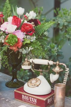 Vintage rotary phone at Wes Anderson inspired wedding with Bash, Please, at the Vibiana in Los Angeles with Found Vintage Rentals