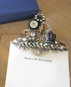 Pretty up those clip board clips with odd pieces of jewelry...I LoVe THis!!!
