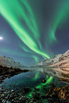 ~~Ersfjorden og halvmåne ~ Troms Fylke, Norway by mirrormatch~~ (photography, photo, picture, image, beautiful, amazing, travel, world, places, nature, landscape, aurora)