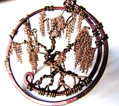 """Willow Tree of Life Pendant """"With a Twist"""" made with Dangling Copper Chain Leaves and Dark Brown Wire Branches"""