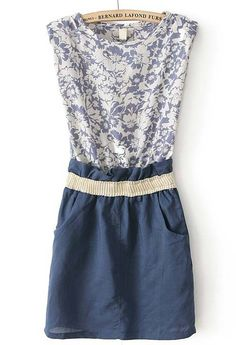 Blue Sleeveless Floral Bandeau Pockets Dress - Sheinside.com