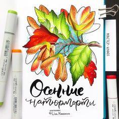 """Can't stop drawing autumn 🍁  Всех, кто как и я, с трудом борется с желанием нарисовать каждый осенний листик, встреченный на пути, приглашаю на мой мастер класс """"Осенние натюрморты маркерами"""". Он состоится 24 сентября в 16:00 в @studio_paspartu. Вас ждёт два сезонных задания, мешок моих маркеров (свои тоже приносите, если есть) и скидка, если вы запишетесь заранее :) Буду рада видеть всех! Приходите! :) #sketch #sketcbook #copic #markers"""