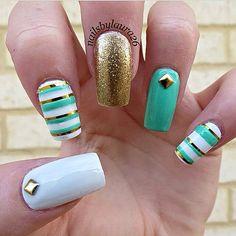Aqua Green, Gold, and White Stripes Nail Art