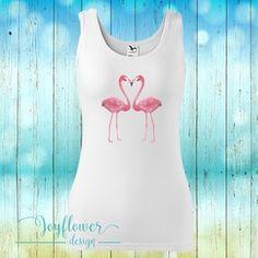 flamingo - divatos fazonú feliratos női trikó vízfesték hatású grafikával gyönyörű nyárias színekben Graphic Tank, Spandex, Tank Tops, Design, Women, Fashion, Moda, Halter Tops, Fashion Styles