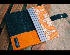 Merino wool Iphone wallet  dark grey and Orange by AlexMLynch, $52.00