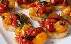 Crostini Roasted Cherry Tomatoes cooked on the Mugnaini Company wood fired oven.
