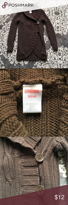 💕Gymboree girls chunky sweater💕 Super cute heavy sweater. Brown with 2 buttons on side. My diarrhea only wore a few times. Great condition and tons of wear left! Gymboree Shirts & Tops Sweaters