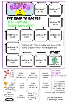 Sunday school kids Holy week, The Road to easter Activity with bible verses for older kids to look up