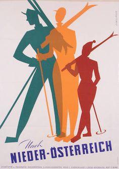 Nach Niederösterreich, Gamsjäger, Sepp, 1954 - Travel tips - Travel tour - travel ideas Vintage Ski Posters, Vintage Postcards, Vintage Ads, Old Poster, Green Label, Fantastic Voyage, Travel Cards, Illustrations, Advertising Poster