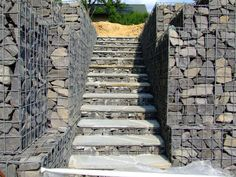 Gabion Stairs | Gabions can also be used as foundations under garages on steep slopes