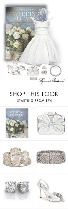 """Short Wedding Dress 2 -  #3217"" by lynnspinterest ❤ liked on Polyvore featuring Belle Badgley Mischka, Harry Winston, Monique Péan, Manolo Blahnik, Monsoon and 3217"