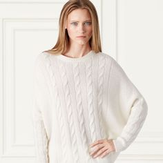 Cabled Cashmere Dolman Sweater