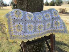 Grey yellow and white granny square afghan $48.50 on Etsy