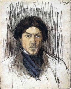 Pablo Picasso, Self-Portrait, black chalk and watercolor, National Gallery of Art Desenhos Pablo Picasso, Pablo Picasso Drawings, Kunst Picasso, Art Picasso, Picasso Paintings, Picasso Images, Magnum Photos, Pablo Picasso Zeichnungen, Frames