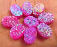 65 Cts. NATURAL DYED 12x8mm PINK DRUZY AGATE LOT LOOSE CABOCHON GEMSTONE (ND188) #NagmaGems