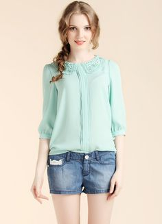 Green Half Sleeve Lace Lapel Chiffon Blouse; looks like an england clothing find